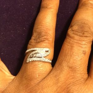 Ring 0.22 Ct Diamonds 18K Over Sterling Silver